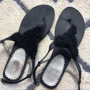 Shoes - Satin sandals black size 7.5 floral cutouts